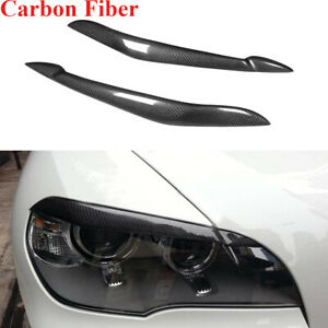 Fit for BMW X5 E70 2007-2013 Headlight Eyelid Eyebrows Trim Caps Carbon Fiber