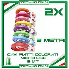2X Cavi Dati PIATTI MICRO USB 3 Metri 3m