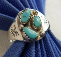 """Vintage Men's 5/8"""" Turquoise Handcrafted 0.925 Sterling Silver Estate Ring Sz 12"""