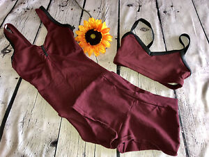Lot of 3- Capezio Women's  burgundy Leotard, bra & shorts Sz. Small EUC/ NWOT