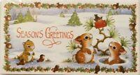 Vtg Season's Greetings Money Cards pk of 5 NOS Forest Critter's Christmas Card