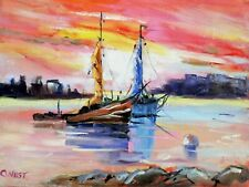 """Original Oil Painting ~""""Trawlers At Dusk""""~ 6""""  x  8"""" Oil On  Panel"""