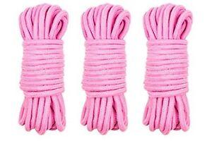 3 x Shibari Soft Bondage Ropes -  10m Pink 100% Cotton Tie & Tease Fun