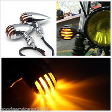 2 X Waterproof Chrome Bullet Motorbike Finned Grille Turn Signal Indicator Amber