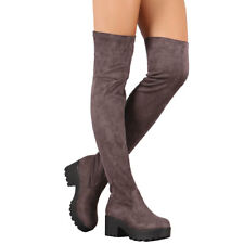 New Stretch Fitted Vegan Suede Pull On Over The Knee Boots Med Low Platform Heel