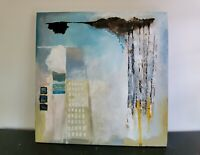 Original Signed PC Allen Abstract Acrylic Blue Grey Yellow City Painting 36x36in