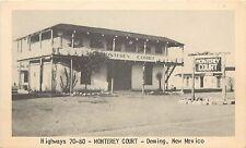 Vintage Lithograph Postcard; Hwys 70-80 Monterey Court Motel, Deming NM Roadside