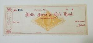 1870's Wells Fargo Carson NV Unused Check V&T RR Virginia City & Truckee NR
