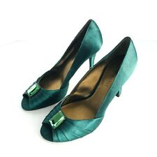 CHANGE BY CHARLES DAVID GREEN SATIN GREEN STONE EMBELLISHMENT PUMPS SIZE 6.5