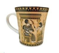 Fathi Mahmoud FM Multicoloured Mug Gold Trim Throne Of King Vintage Egypt