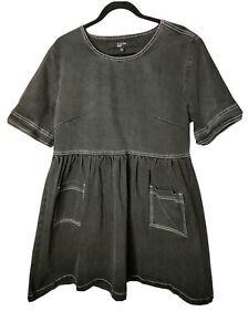 SIMPLY BE Denim Dress Size 18 Black Charcoal Wash Pockets Smock Plus Size