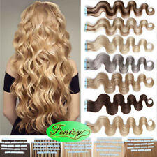 Invisible Tape In Remy Human Hair Extensions Skin Weft Body Wavy Wave Hair18inch