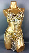 Womens New Belly Dance hip scarf Costumes Bra&Belt Set Indian 14 color S/M/L