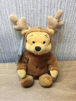 "Disney Store Winnie The Pooh Plush Soft Toy Beanie 8"" NEW Reindeer 2000 Xmas"