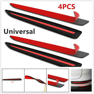 4XCar Front&Rear Bumper Carbon fiber Black&Red Crash Strip Protections