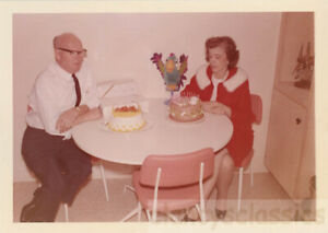 1960 Abstract Double Birthday Cake Couple Only Parrot is Excited Color Snapshot
