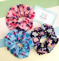HAIR SCRUNCHIES FLORAL & POLKA DOT FABRIC HANDMADE SCRUNCHIE, 3 Pack Bobble TIE