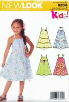 NEW LOOK SEWING PATTERN 6204 GIRLS SZ 3-8 FLARED SUN DRESS, NECKLINE VARIATIONS