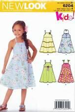 NEW LOOK SEWING PATTERN 6204 GIRLS SZ 3-8 FLARED SUN DRESS, NECKLINE VARIATIONS