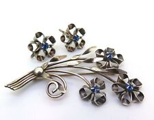 Beautiful Vintage Sterling Silver & Simulated Sapphire Brooch Clip on Earrings