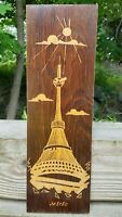 VTG MCM Engraved Hand-Carved Wood Wall Plaque Ještěd Jested Travel Art Rare SALE