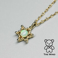 Dainty Romantic Star Natural Australian Solid Opal Charm Necklace 10KY Gold