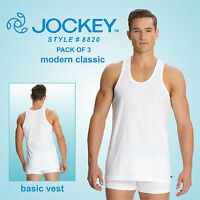 3 x Jockey Men Modern Classic White Basic Undershirt #8820- Comfy fit-Basic Vest