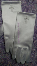 White Satin Communion Gloves with Applique Cross
