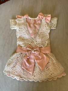 ANTIQUE silk dress for FRENCH doll 8-9 Jumeau Steiner Bru antique lace 12 Inches