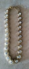 J. CREW NECKLACE CRYSTAL GOLD TONE JEWELRY CLEAN
