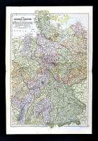 1883 Weller Map - German Empire Germany Berlin Bavaria Frankfurt Hanover Hamburg