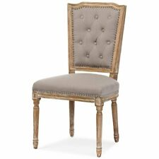 Baxton Studio Estelle Tufted Dining Side Chair in Oak and Beige