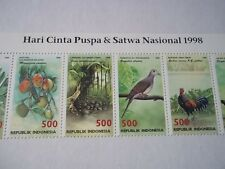 Indonesia Wildlife stamps strip of 10.Hari Cinta Puspa&Satwa Nasional 1998. Mint