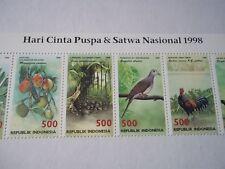 Indonesia Wildlife stamps strip of 10.Hari Cinta Puspa&Satwa Nasional 1998. Mint