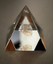 Large Asfour Crystal 3D Engraved Cleopatra Bust Lead Crystal Pyramid Paperweight
