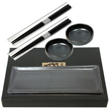 6 PCS. Set Porcelain Metallic Sashimi Sushi Plate Dish W/Chopsticks/Made Japan