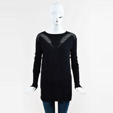 Thomas Wylde Black Cashmere Long Sleeve Rhinestone Embellished Sweater SZ S