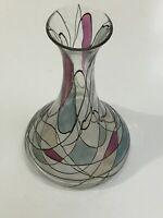 Lucka Studio Art Glass Handpainted Enameled Tall Stem Flower Vase