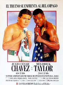 JULIO CESAR CHAVEZ vs MELDRICK TAYLOR 8X10 PHOTO BOXING POSTER PICTURE