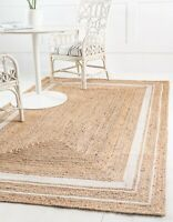 Bohemian Floor Mat Home Living Dhurrie White  Rectangle Jute Boho Area Rug