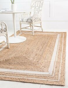 Rug Natural Jute Area Bohemian Floor Home Living Dhurrie White Rectangle Rugs
