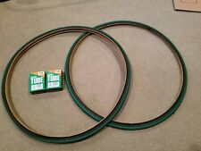 TWO(2) DURO 700X25 C BICYCLE TIRES FIXIE TRACK URBAN BLACK N GREEN & 2 TUBES