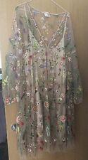 H&M FLORAL EMBROIDERED SHEER POWDER BEIGE DRESS SIZE M/L NET MESH FLOWER