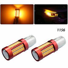 2x 80W Amber 1156 BA15S P21W 106-SMD LED Turn Signal Backup Packing Light Bulbs
