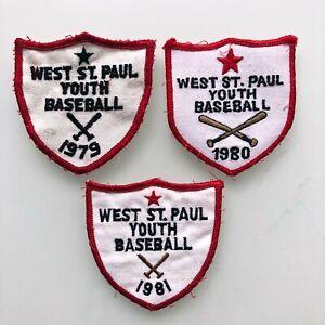 "x3 Vintage West St. Paul Minnesota Youth Baseball, 1979, 1980, 1981 3"" Across"