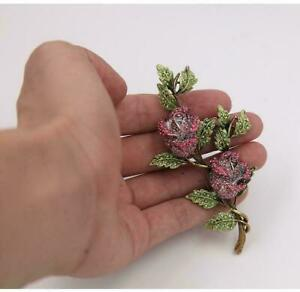 4 Ct Round Cut Ruby & Emerald Flower & Leaves Brooch Pin 14k Yellow Gold Over