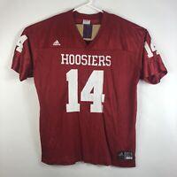 Mens 2XL Indiana Hoosiers Adidas #14 Football Jersey Red Short Sleeve NCAA IU