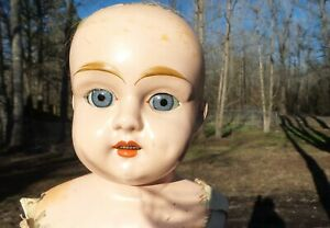 """ANTIQUE! LARGER 24"""" Jointed METAL TIN HEAD DOLL Leather BODY BLUE sleep EYES"""
