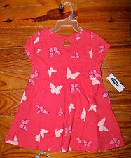 New! Girls OLD NAVY Orange & Pink Cotton Butterfly Drop Waist Dress 18-24 Months