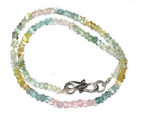 Hadamade 925 Sterling Silver Necklace Aquamarine Gemstone 12-40 Inch Strand Y213